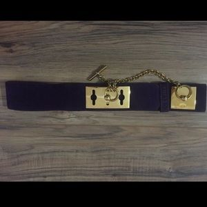 Celine purple suede gold chain belt